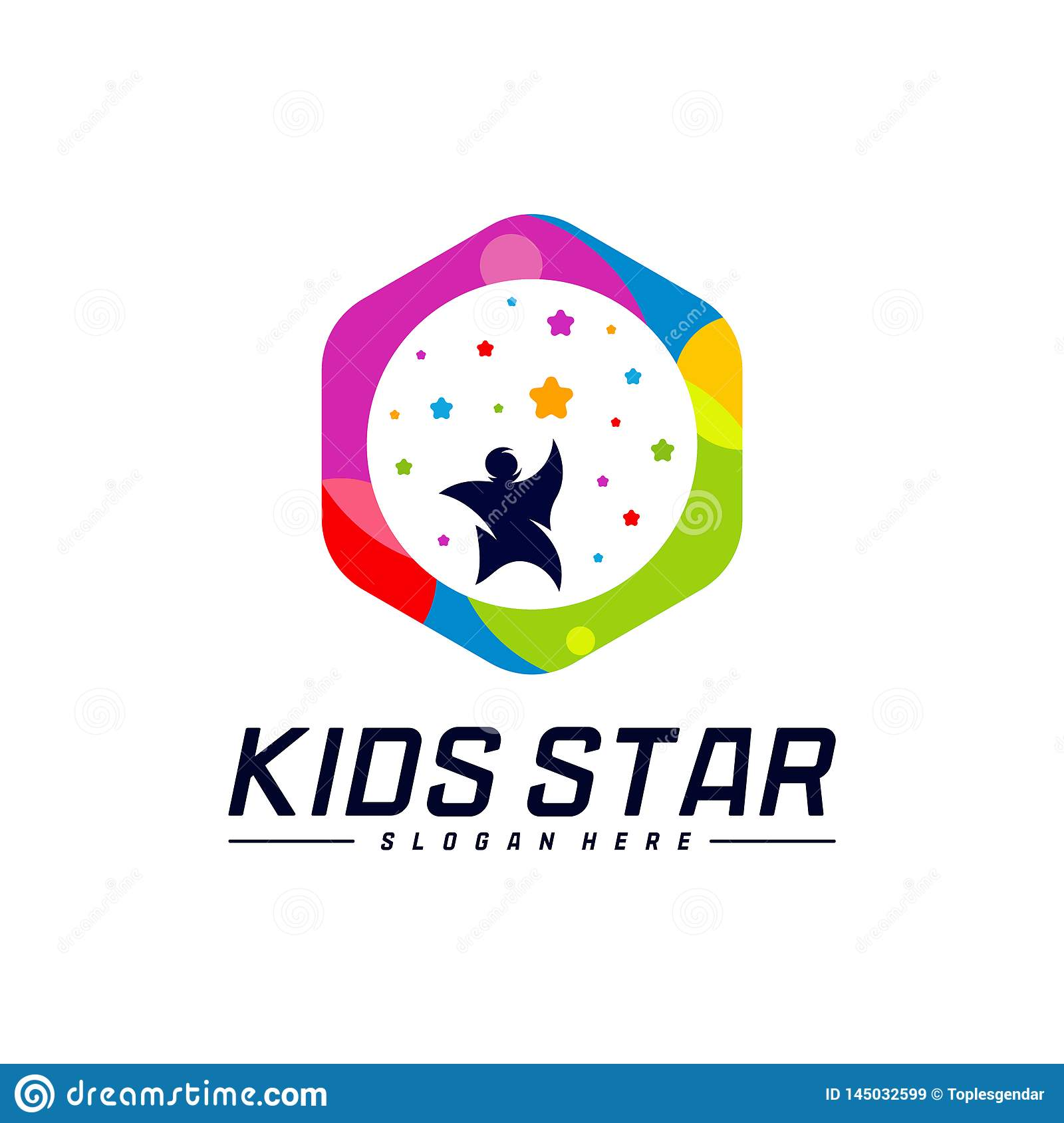 Reaching Stars Logo Design Template. Dream star logo. Kids Star Concept, Colorful, Creative Symbol