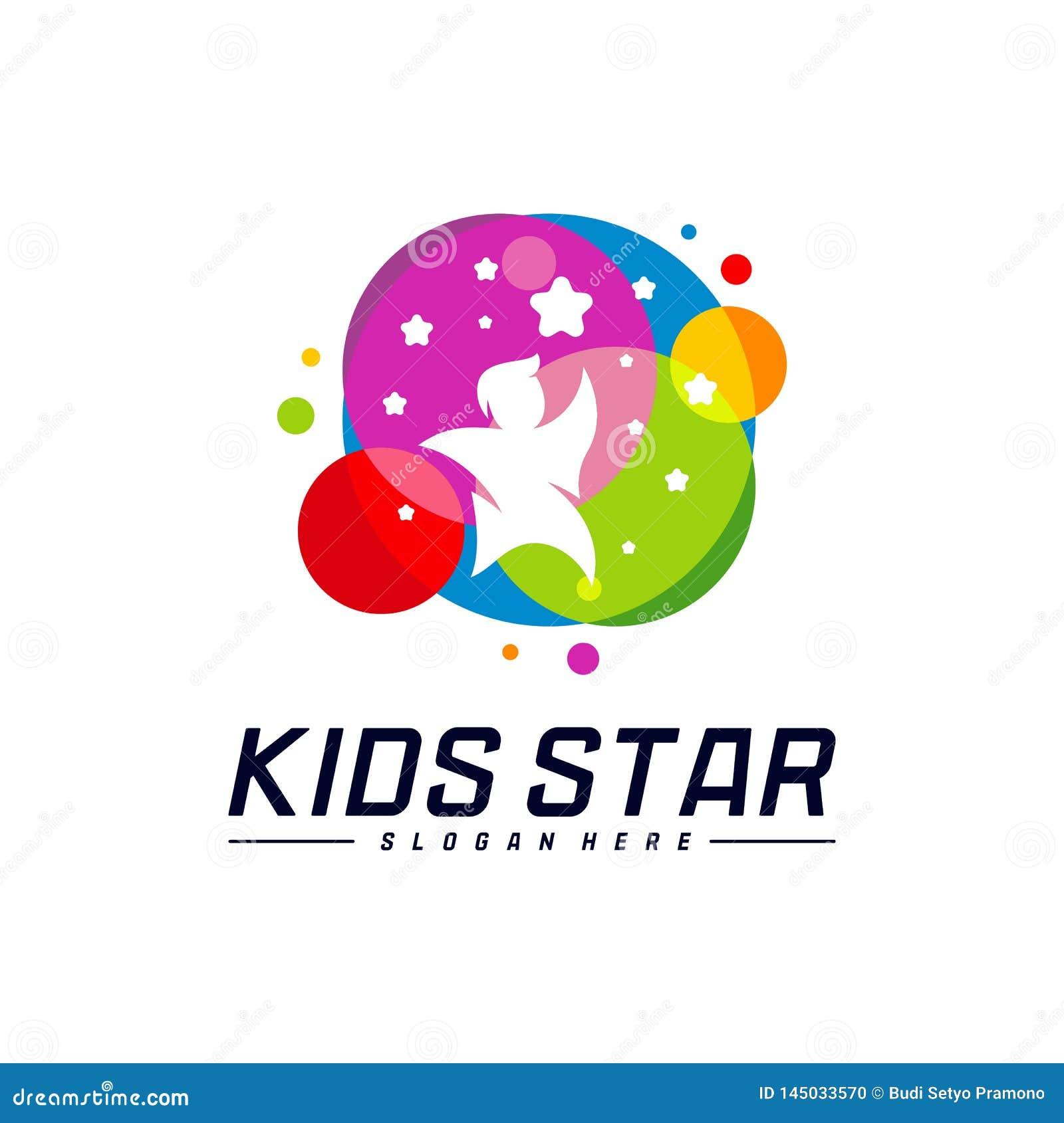Reaching Stars Logo Design Template. Dream star logo. Kids Star Concept, Colorful, Creative Symbol