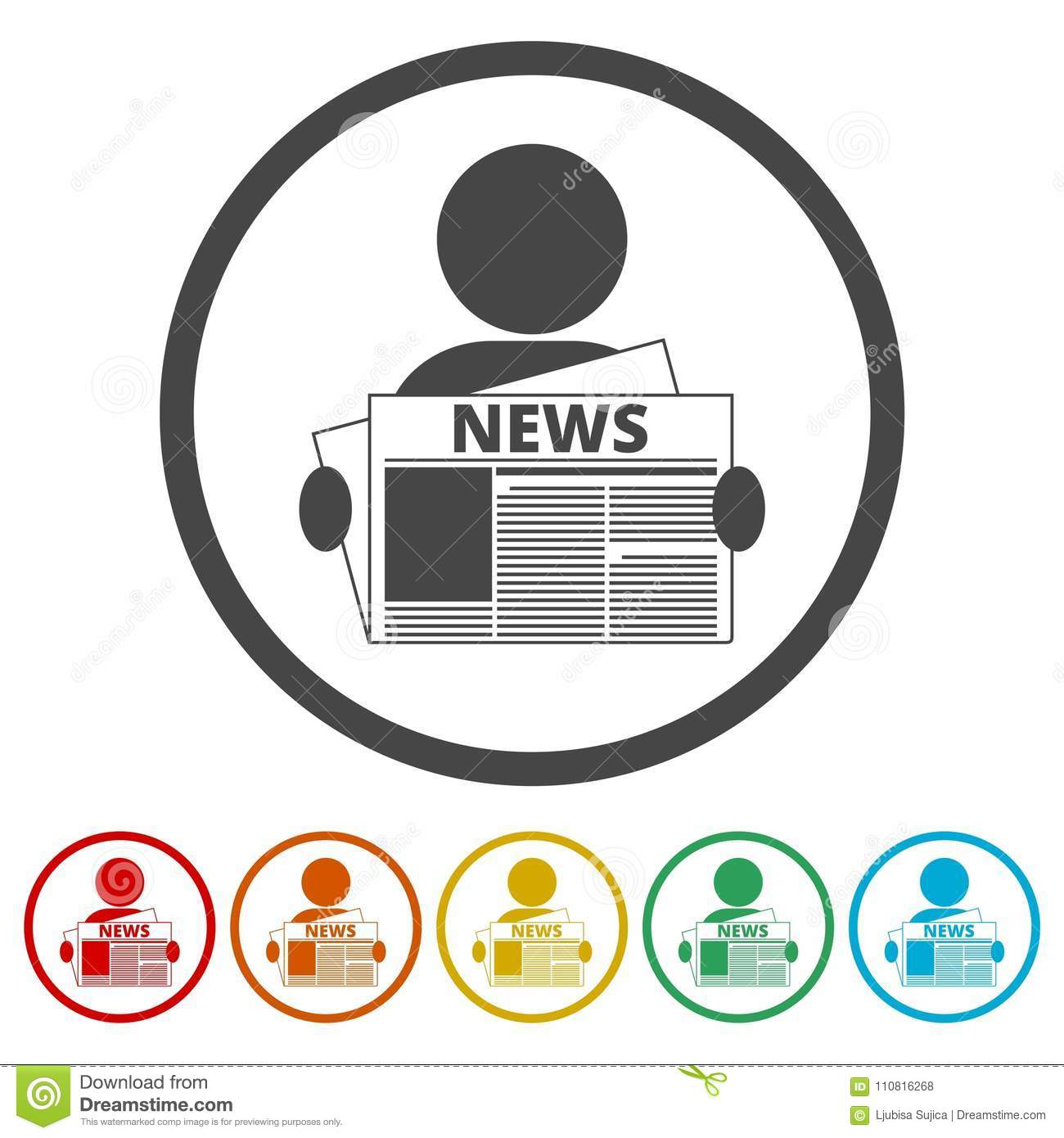 read newspaper logo vector icon, 6 colors included stock vector