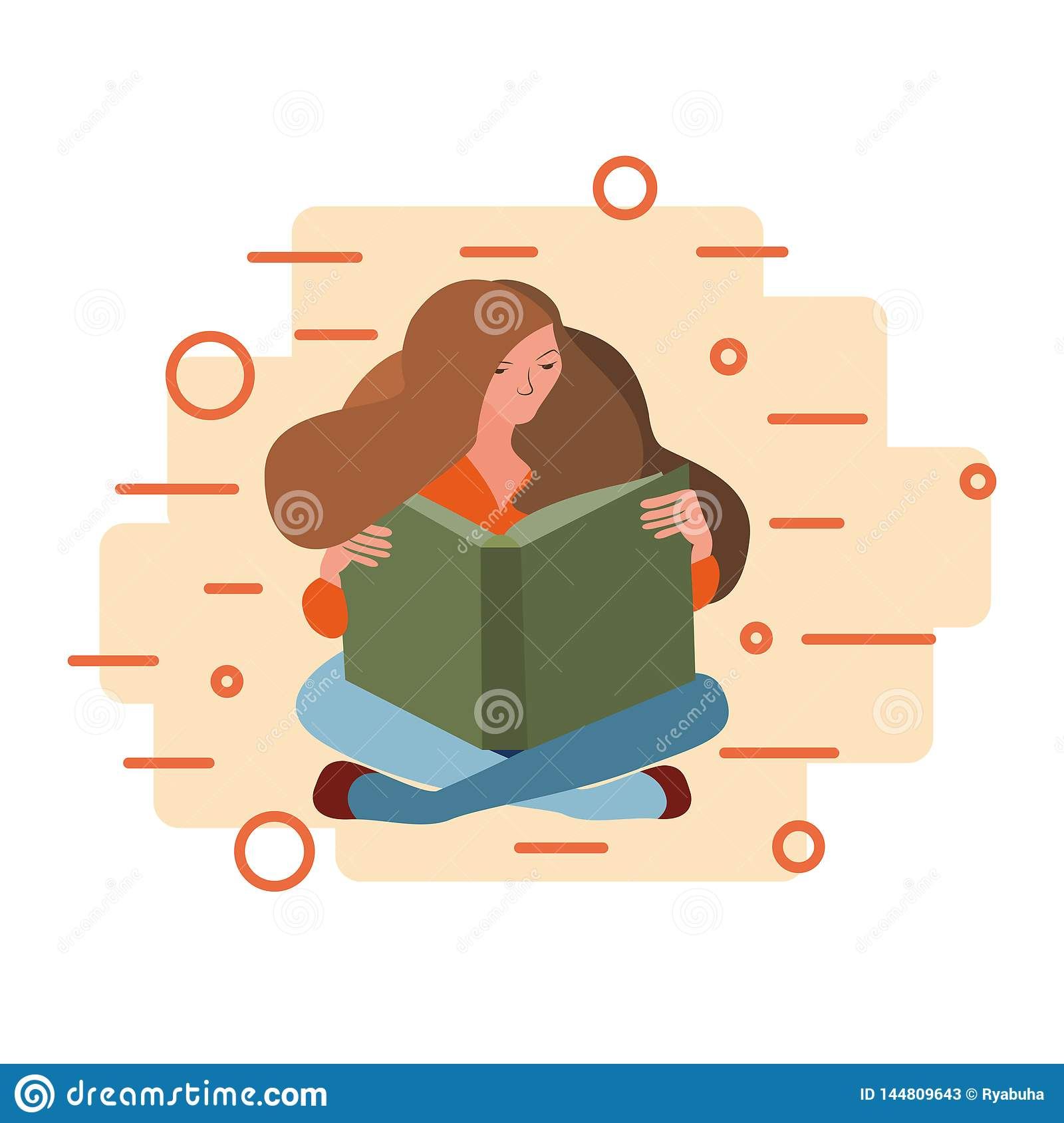 Woman sitting down reading a book on an abstract background.