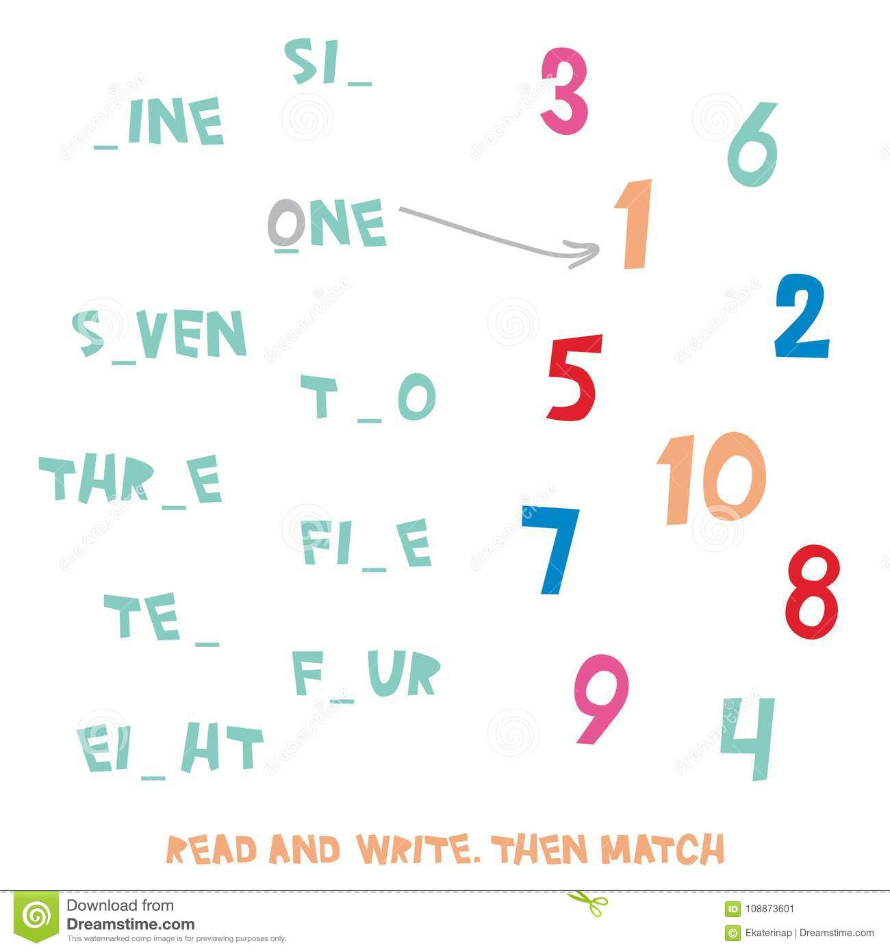 Workbooks simple fill in the blank worksheets : Read And Write. Then Match. Figures 1 To 10 Kids Words Learning ...