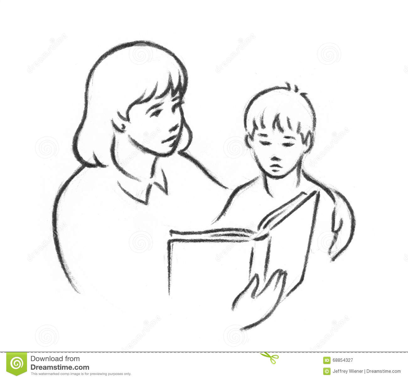 A pencil sketch of a female teacher or mother reading to a young child