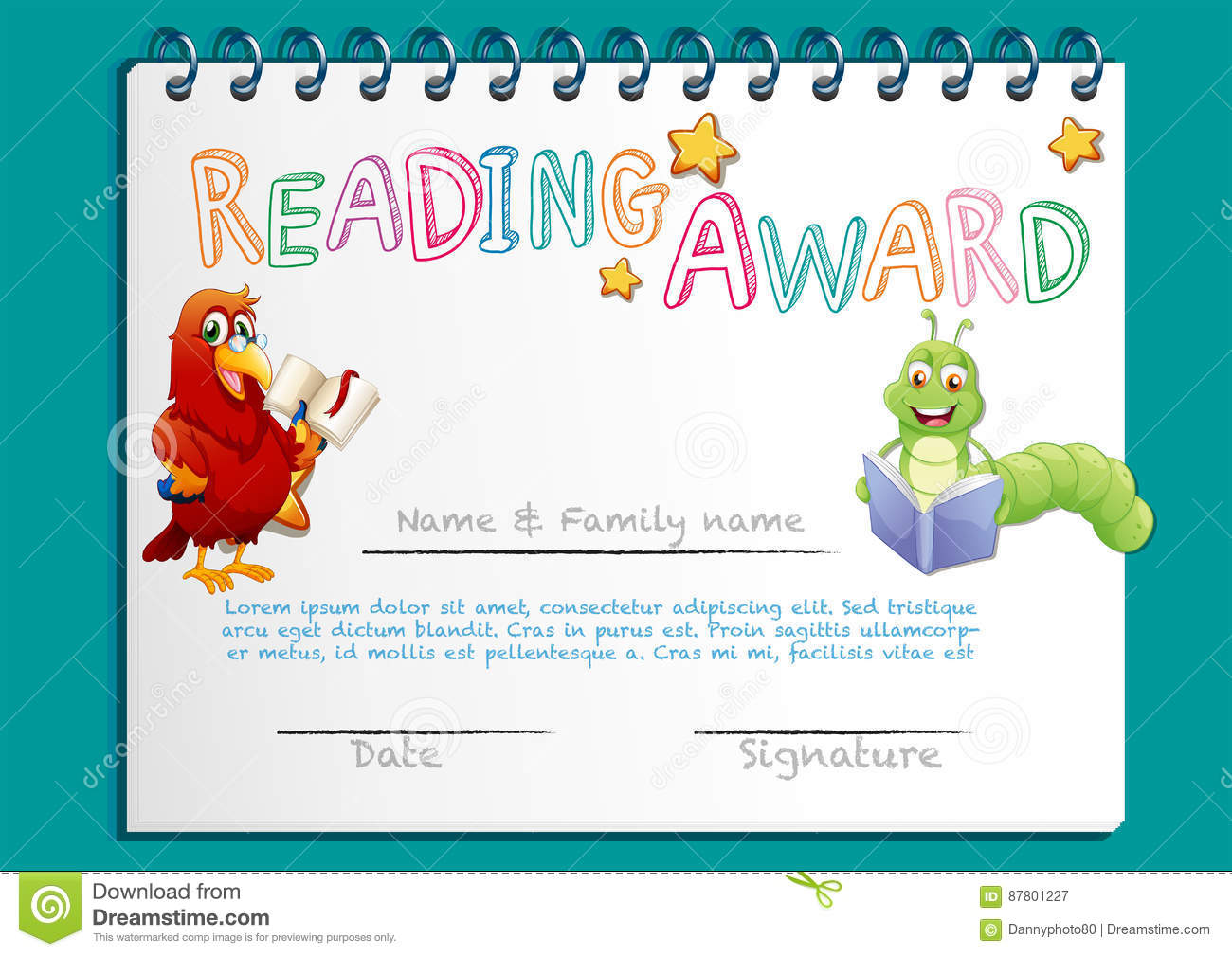 Reading award certificate template with bird reading book cartoon reading award certificate template with bird reading book cartoon vector cartoondealer 87801227 alramifo Images
