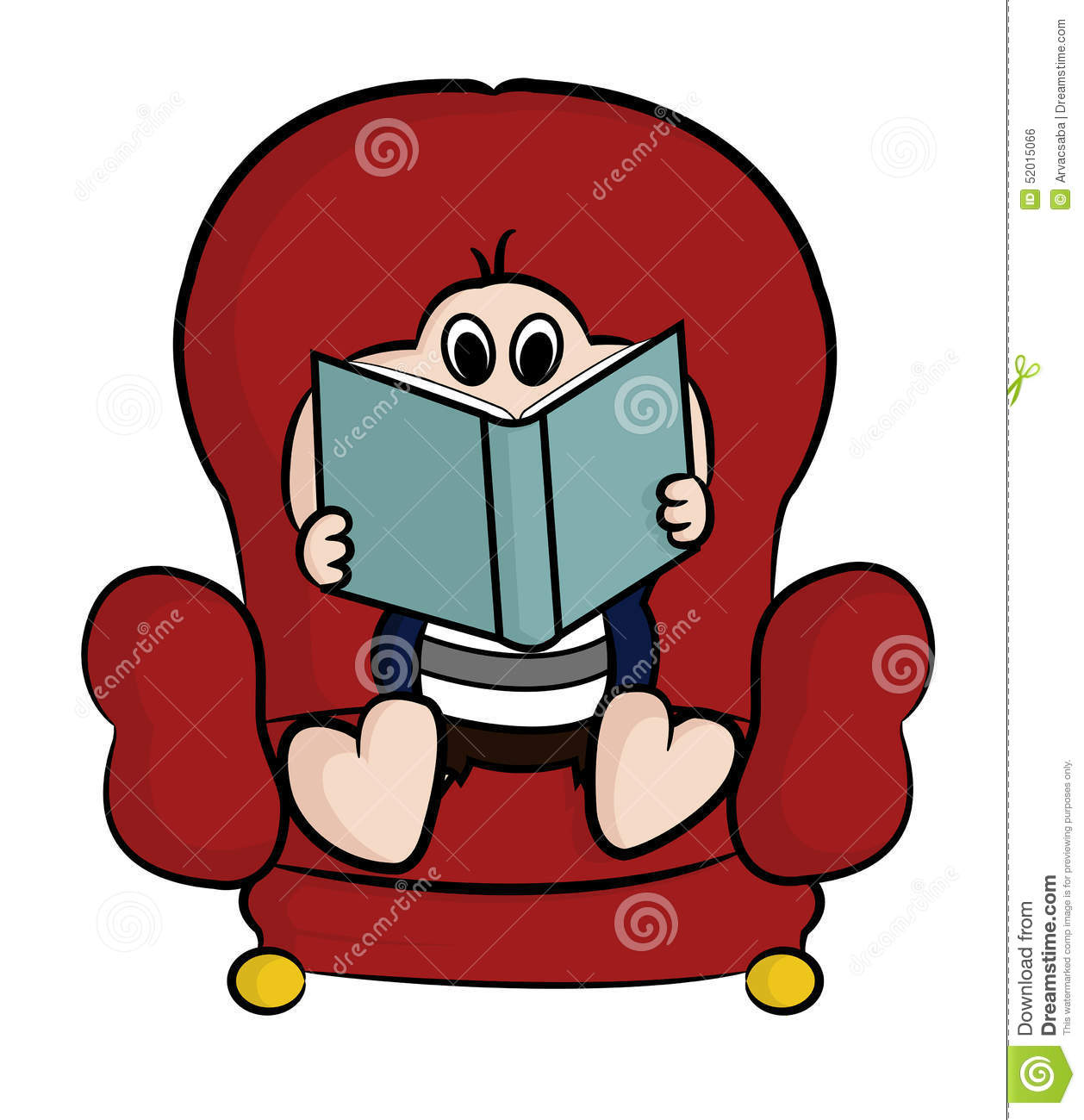 Cartoon Characters Reader : Reading a book stock vector image