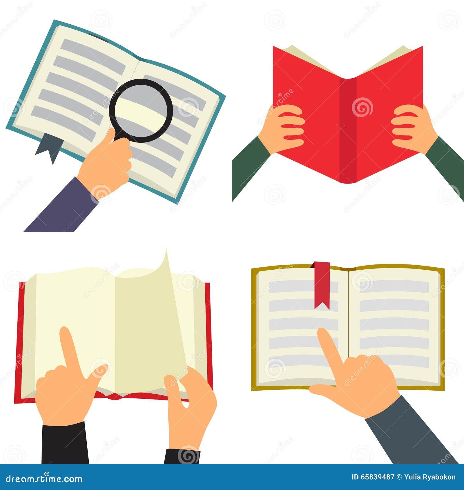 Reading book flat icon set