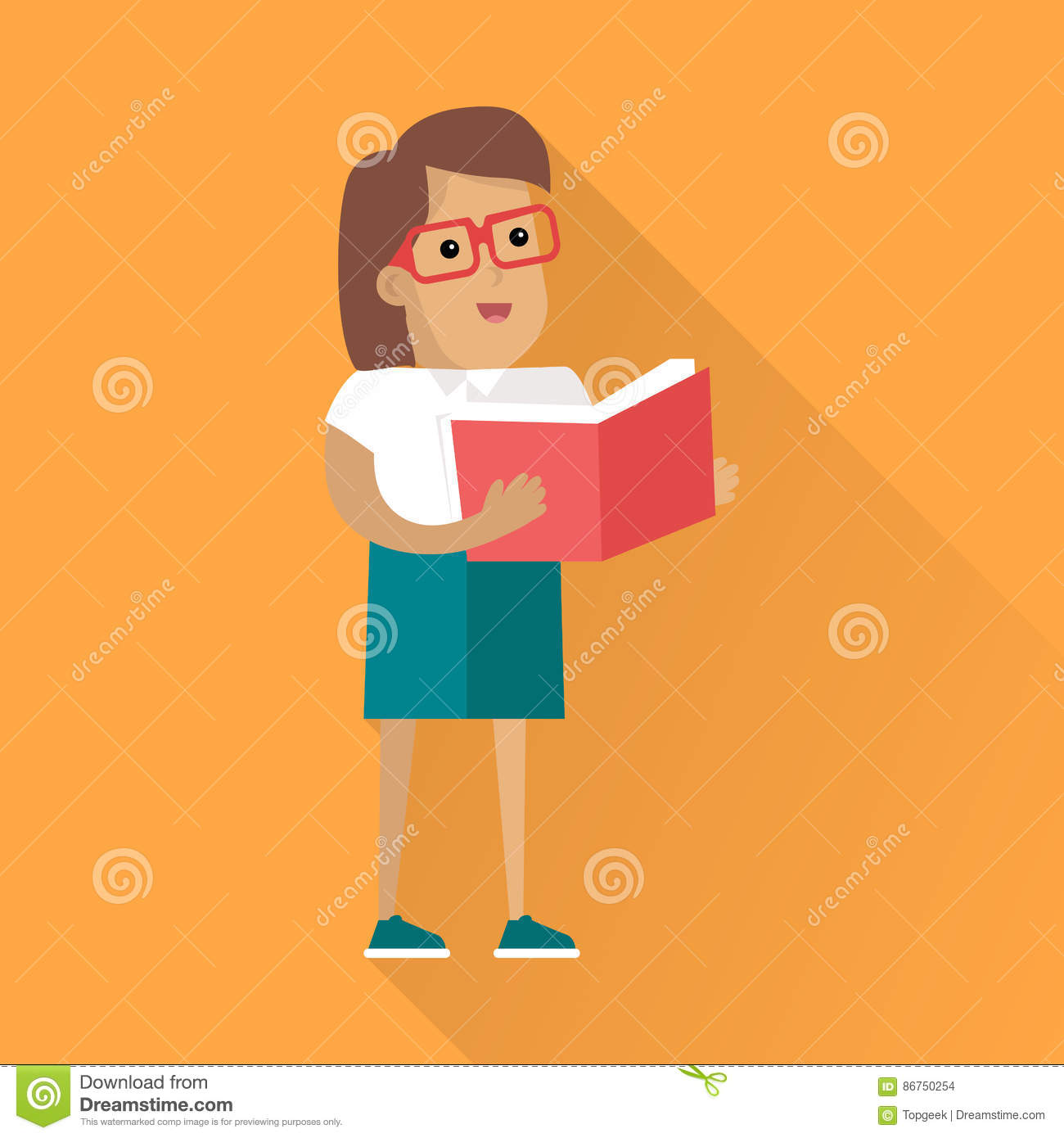1d7e07b6f158 Woman character in glasses standing with a book in their hands.  Self-education and gain knowledge. On orange background with shadow