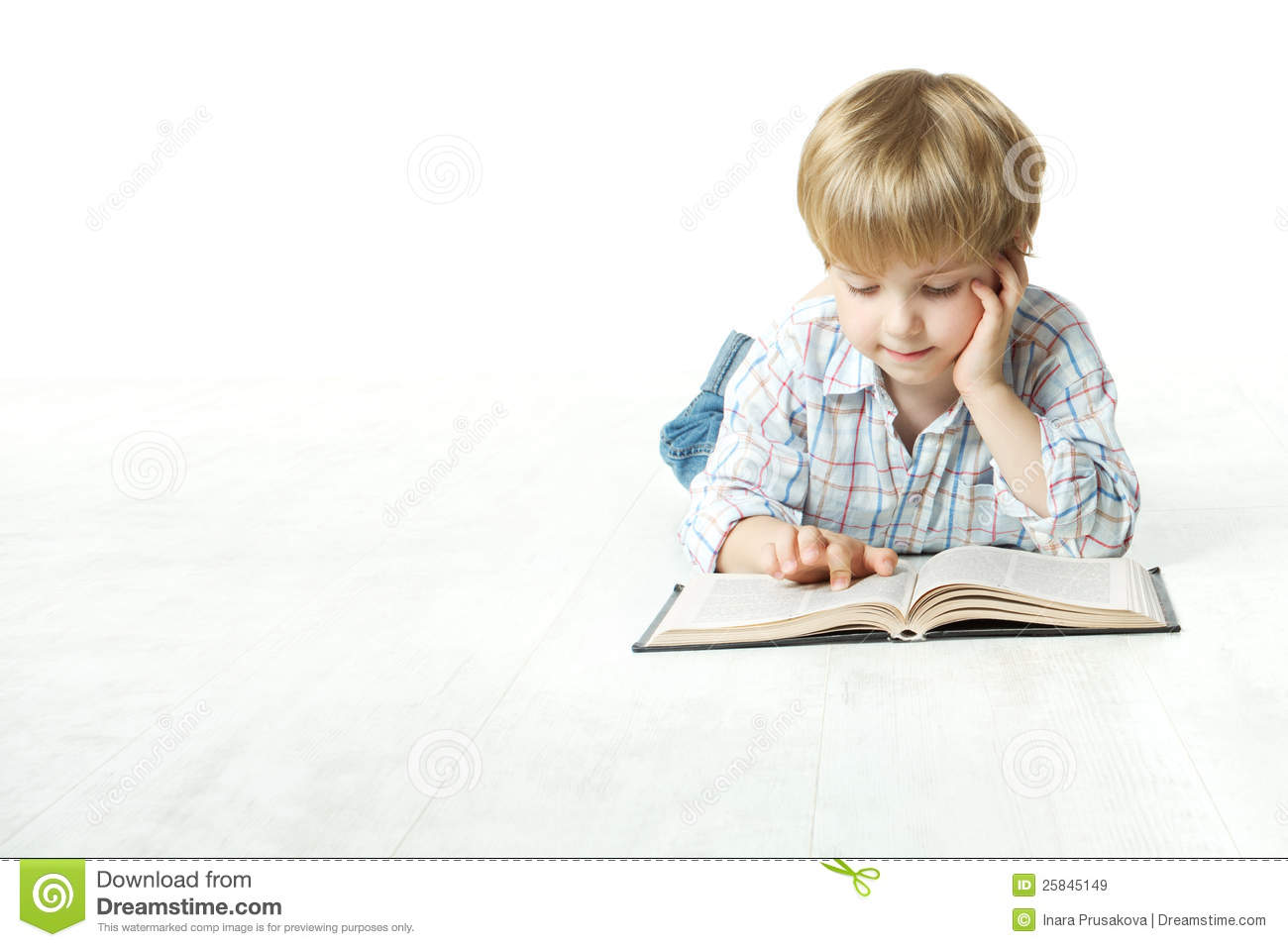 Kid Reading Book, Little Child Boy Read in School, lying down white floor