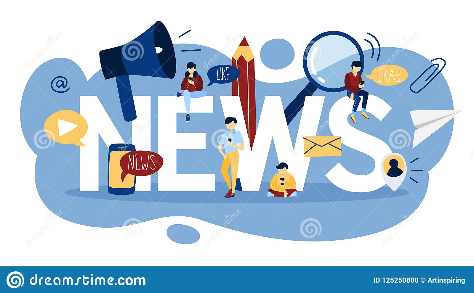 Reading Breaking News On The Web Page Stock Vector