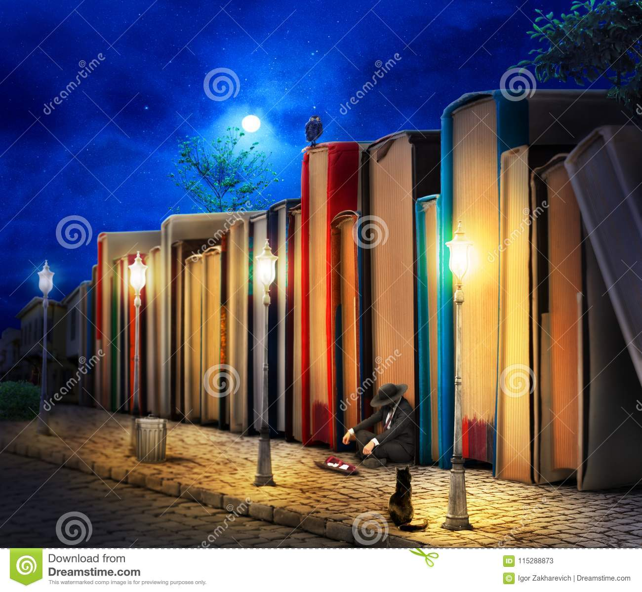 Reading concept. Fantasy. Stack of book as buildings