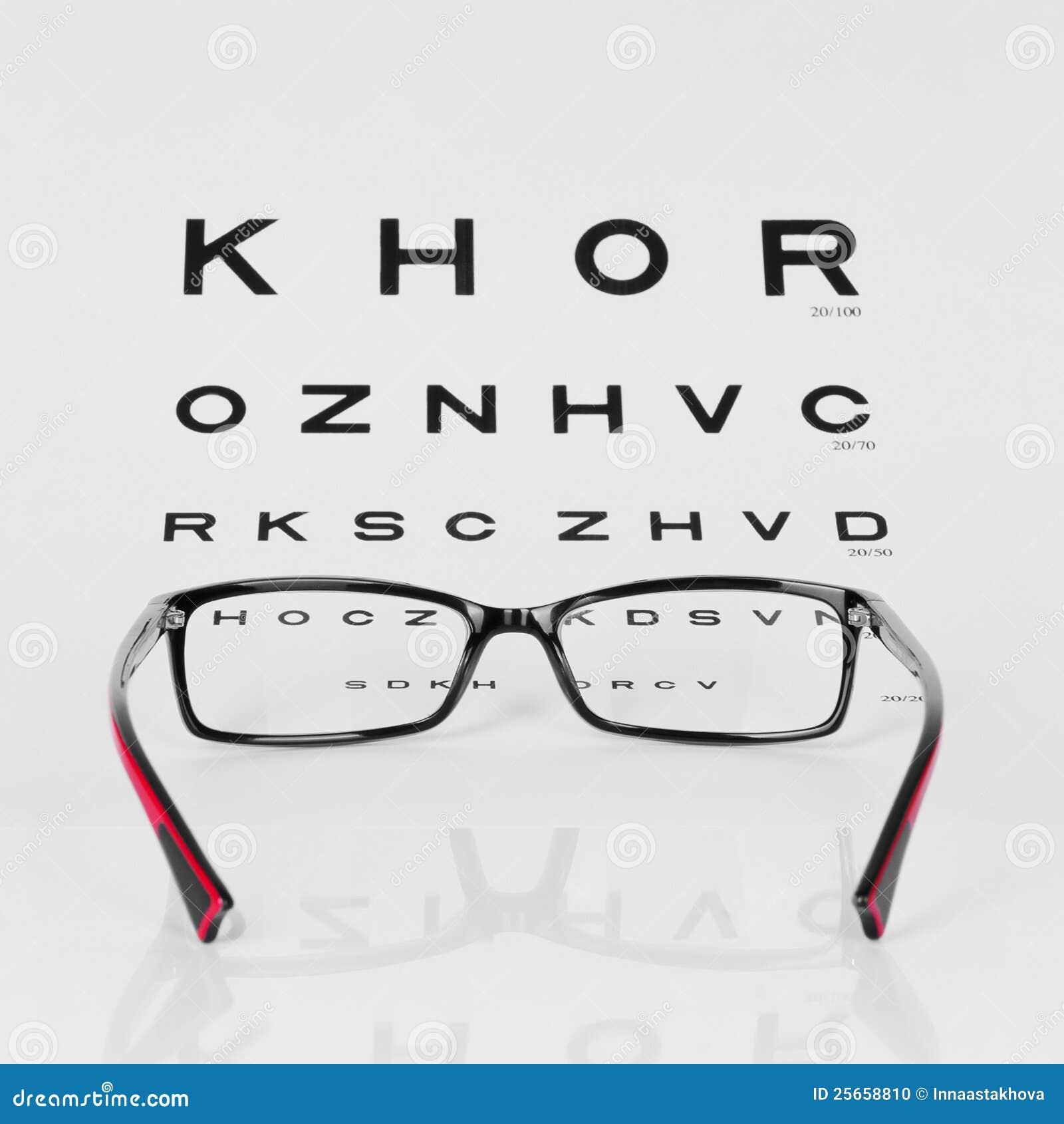 Reading Eyeglasses And Eye Chart Stock Photo Image Of Medicine