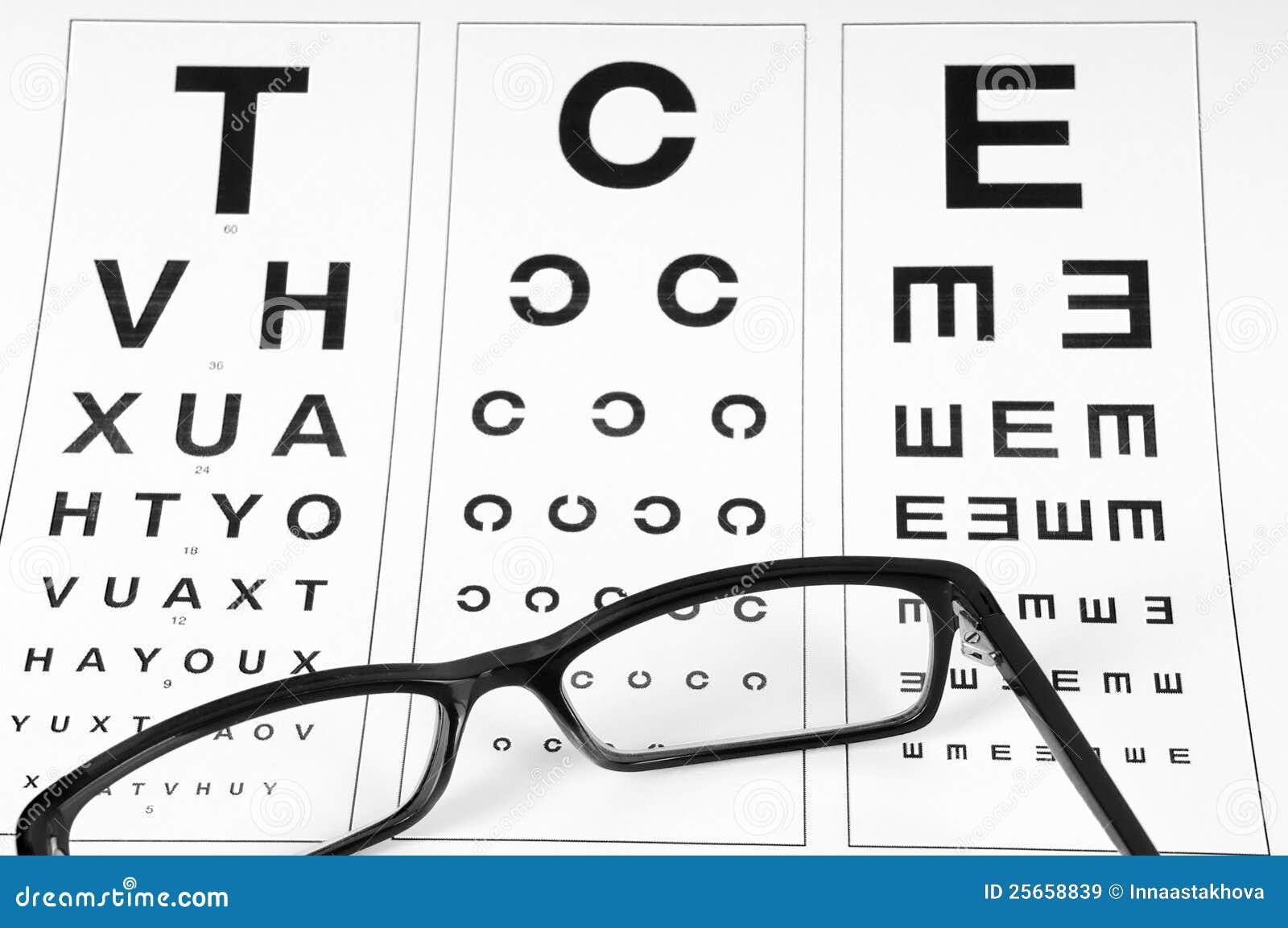 reading eyeglasses and eye chart royalty free stock images