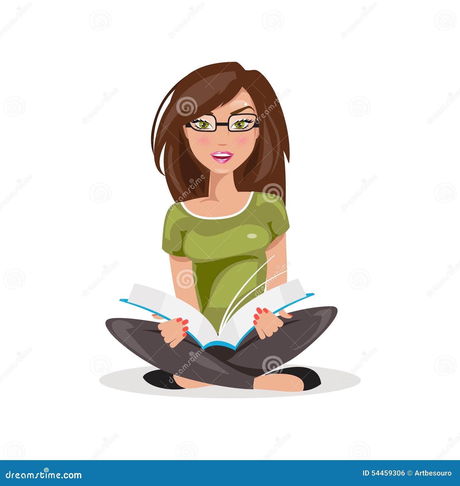 Reading Girl. Vector Illustration Stock Vector - Image ...