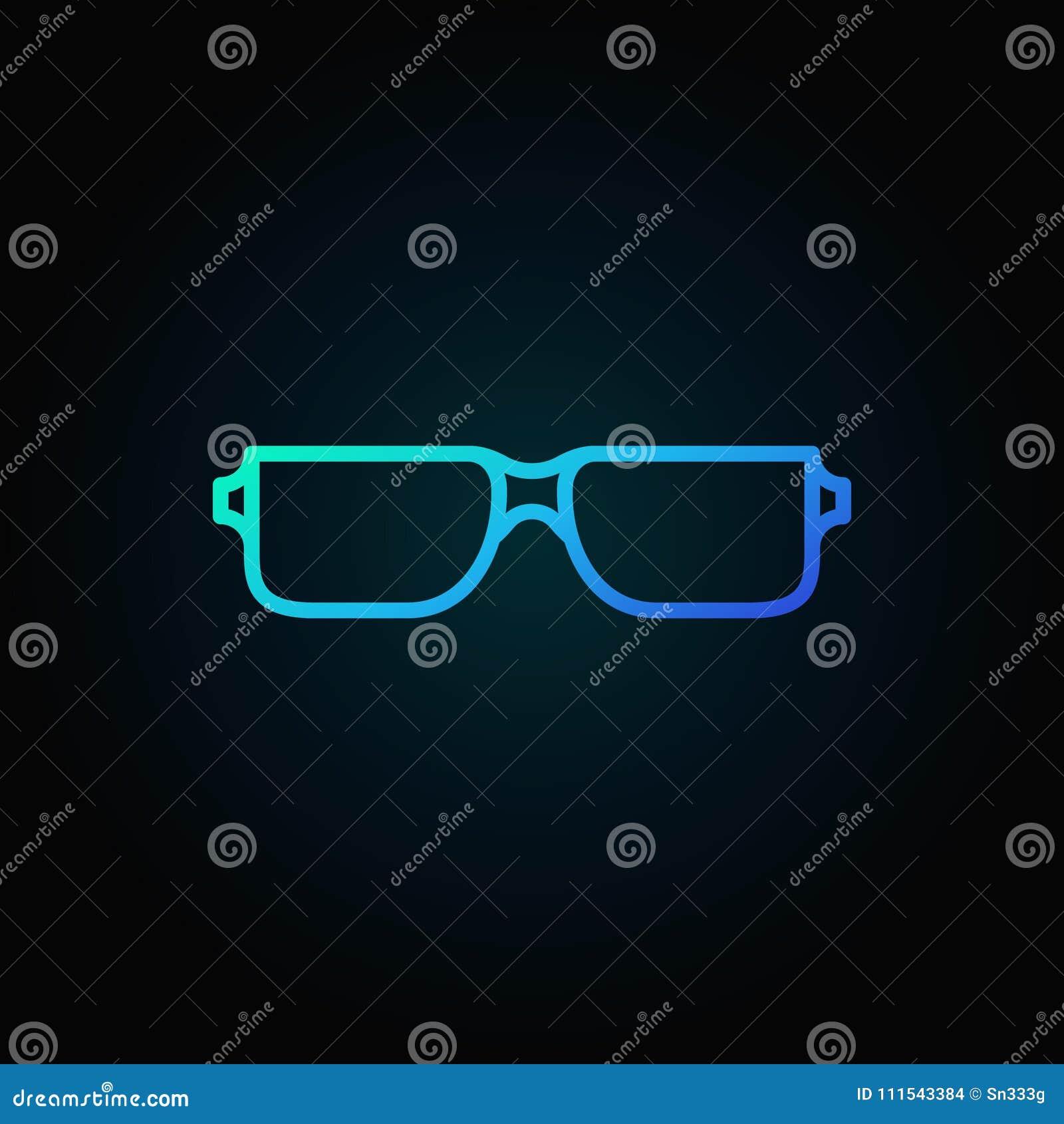 Reading Glasses Blue Icon Vector Eyeglasses Symbol Stock Vector