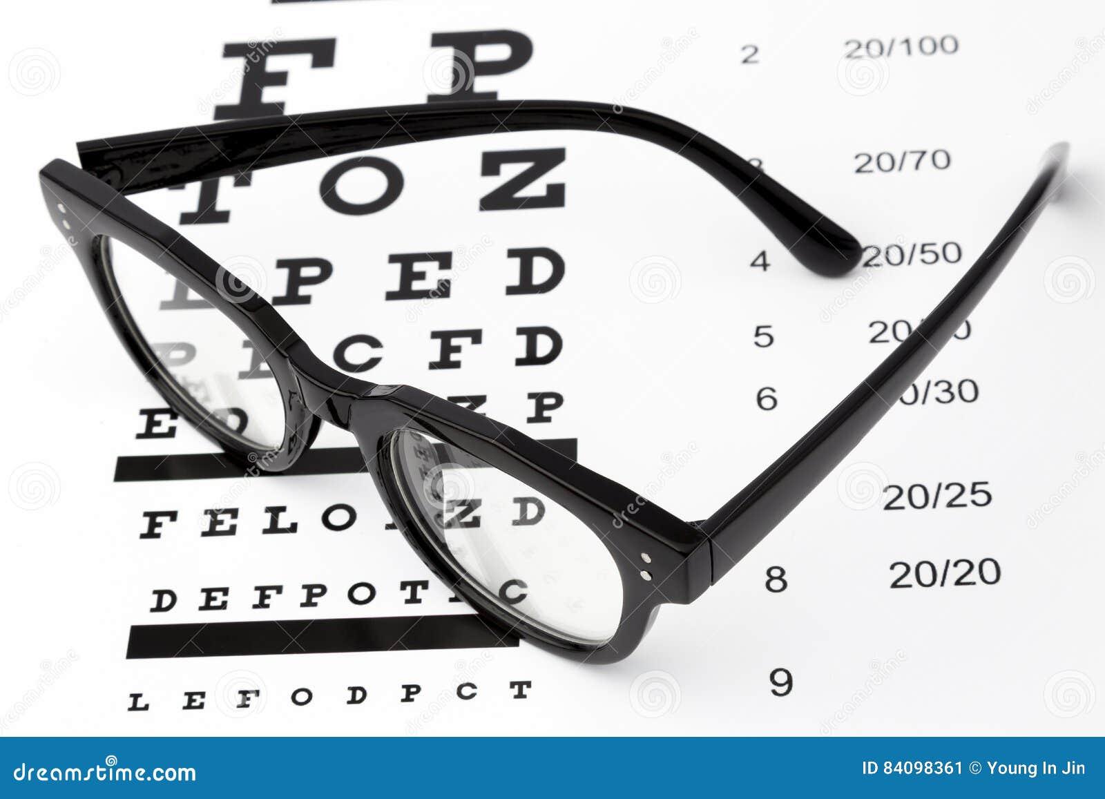 Reading Glasses With Eye Chart Isolated On White Stock Image Image