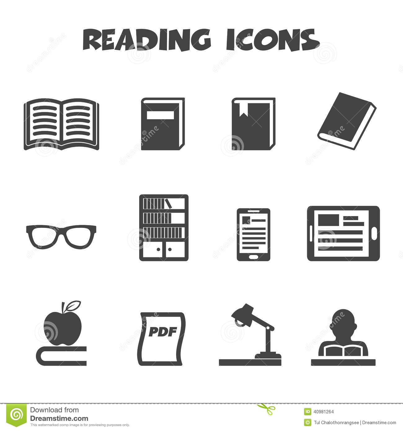 Reading Icons Stock Vector Image 40981264