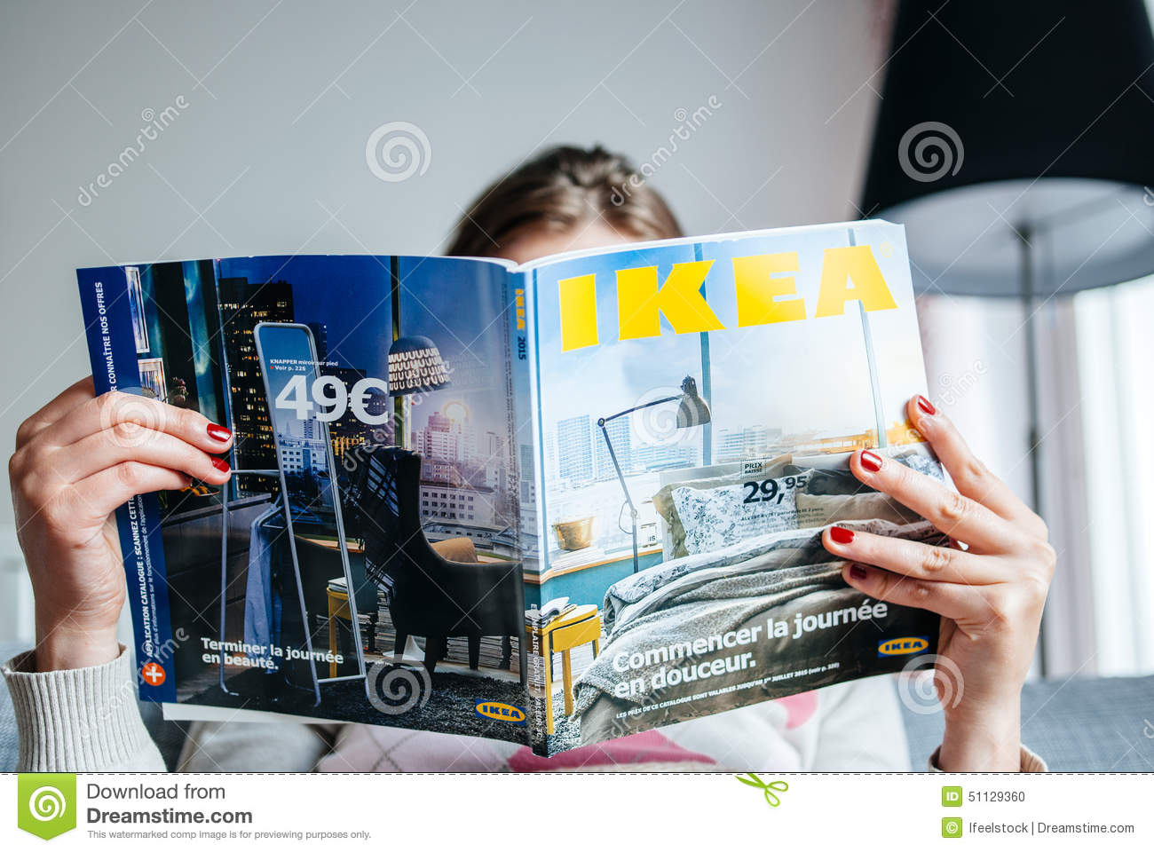 reading ikea catalogue editorial image image of decisions 51129360