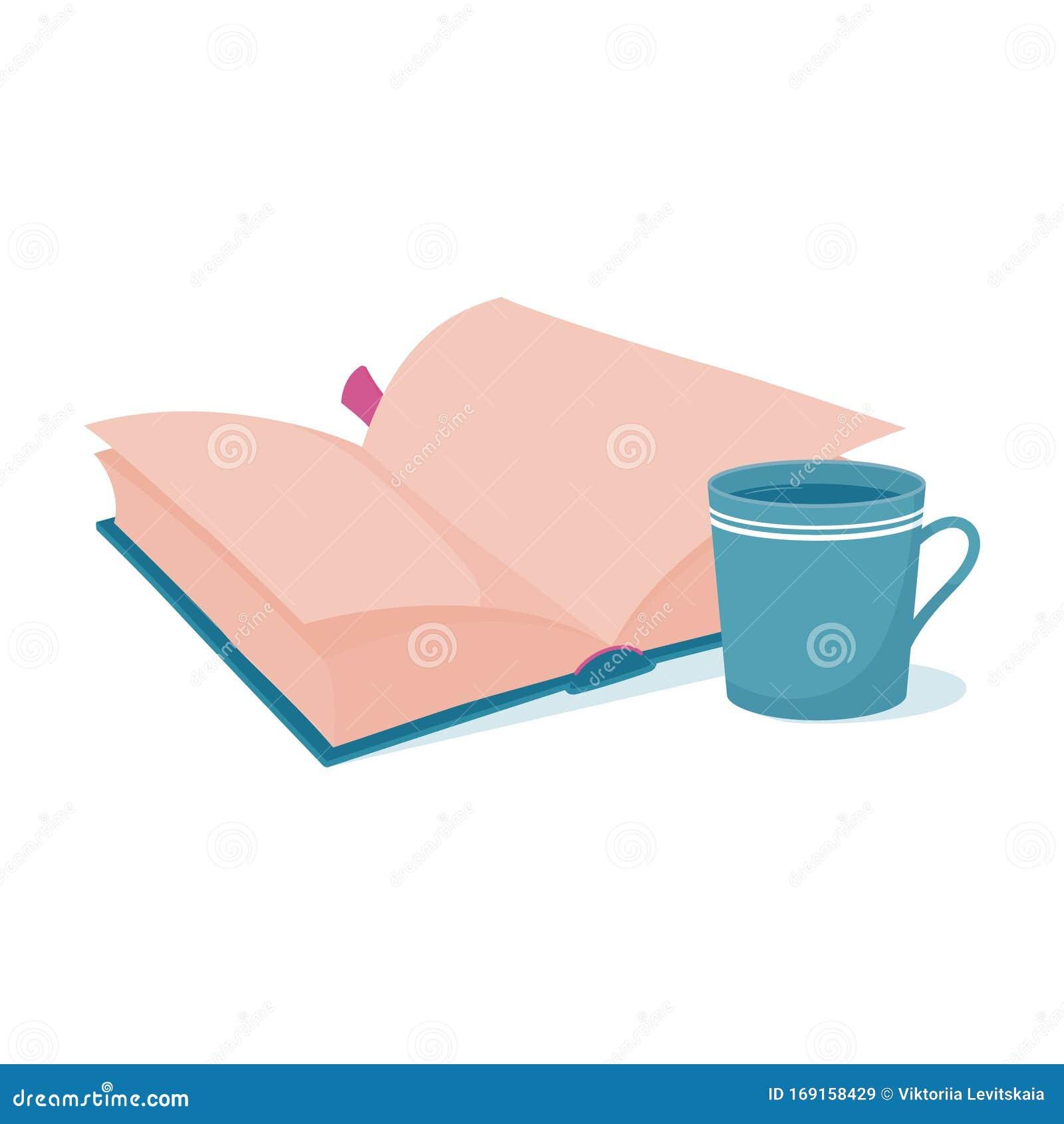 Booklogo Design: Reading Logo With Open Book And A Big Mug Stock Vector