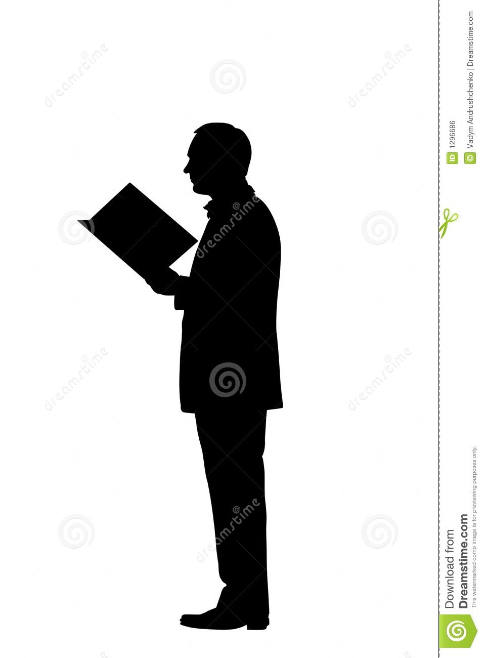 Royalty Free Stock Image: Reading man silhouette with clipping path