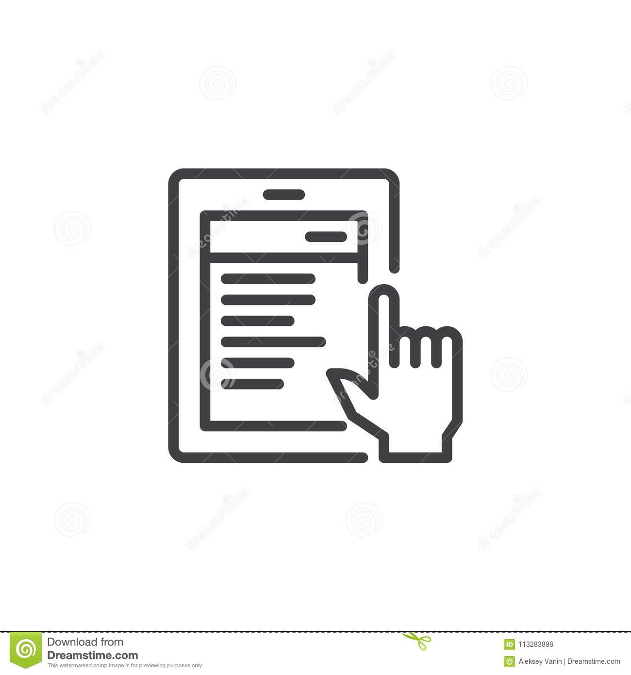 reading news on tablet outline icon stock vector - illustration of
