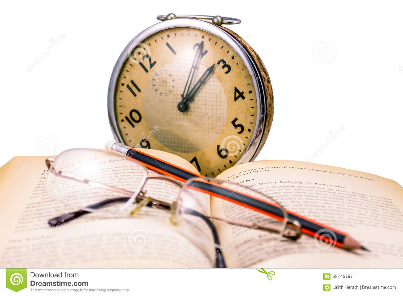 Reading in old age stock image  Image of book, page, clock - 59745797