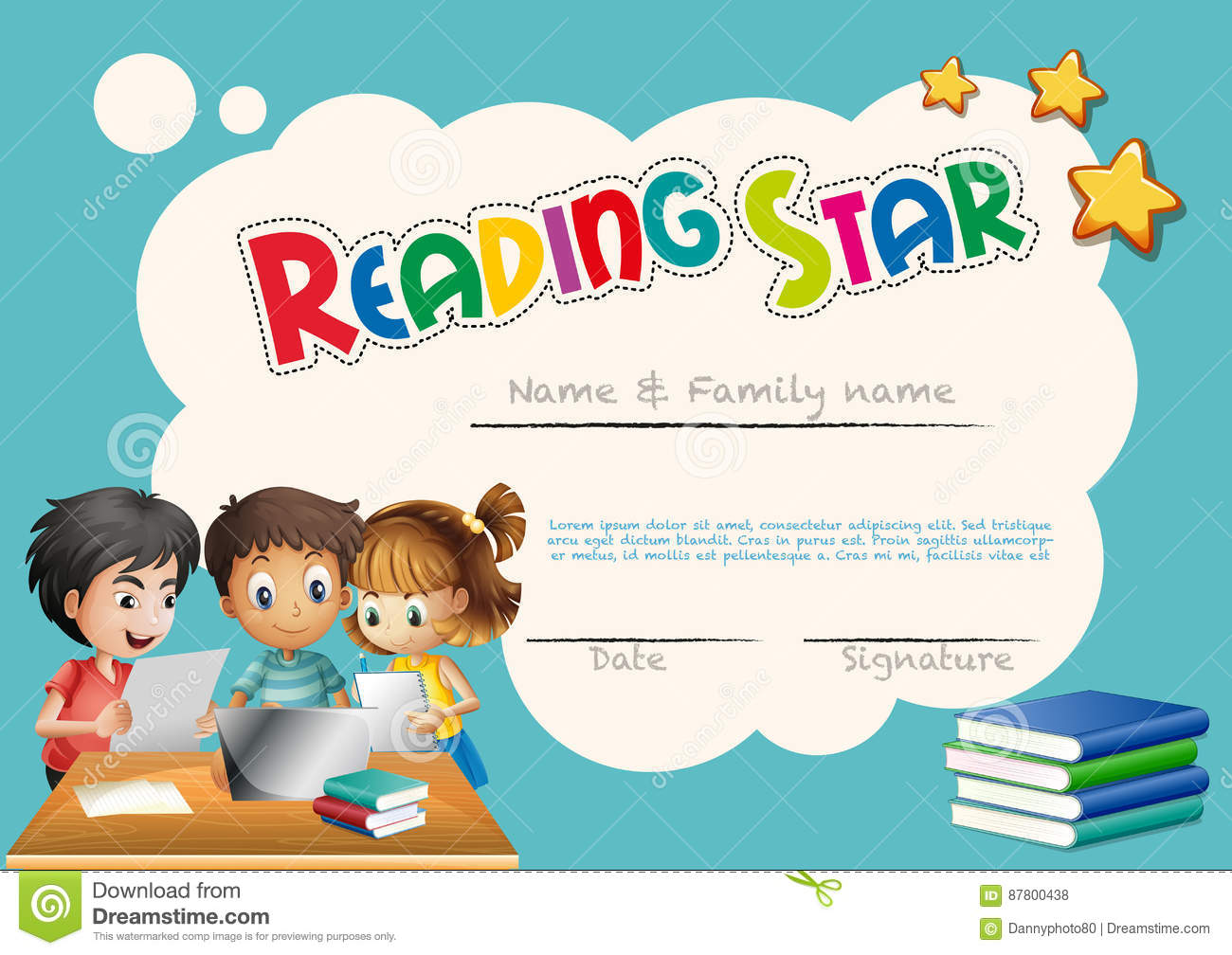 Certificate template for reading award stock vector image 87475634 reading star award template with children background royalty free stock photos yadclub Choice Image