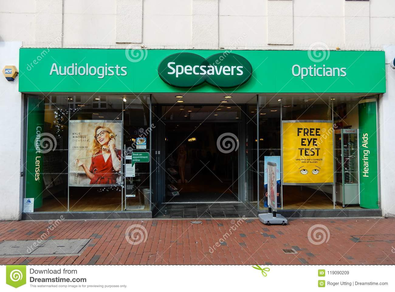 a2eb01d03 Reading, United Kingdom - April 26 2018: The Front of Specsavers on Broad  Street