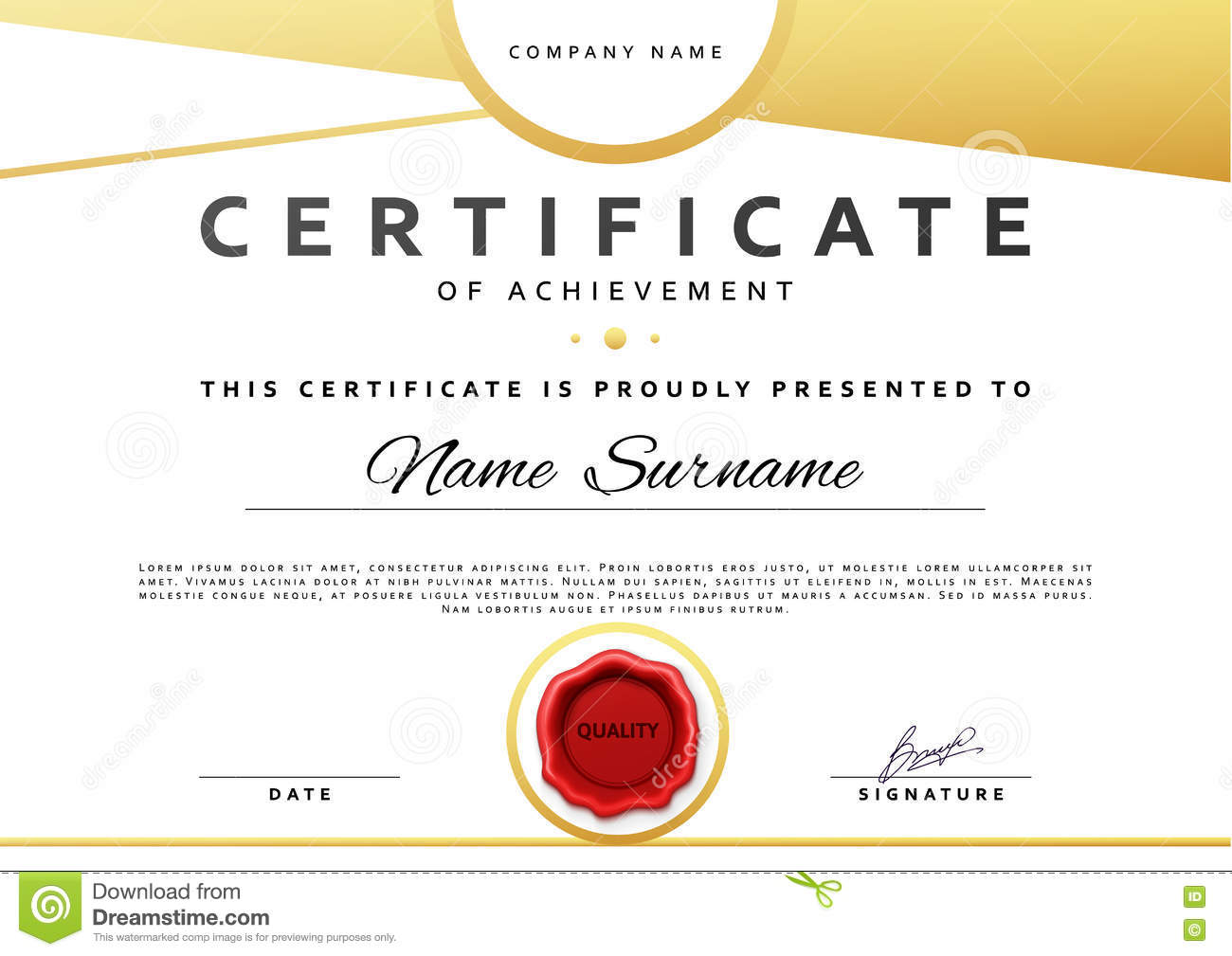 ready design certificate for promotion with red sealing wax stock