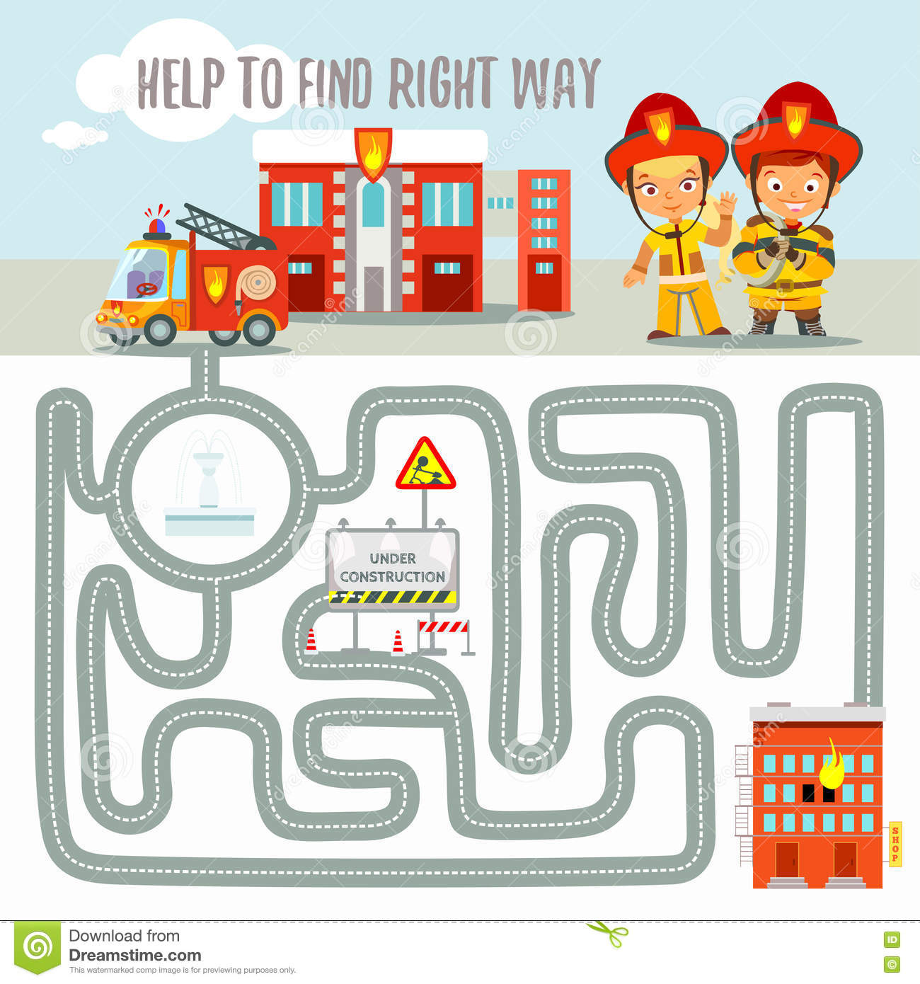 Ready Game Concept About Finding Right Way For Fire Engine  Stock