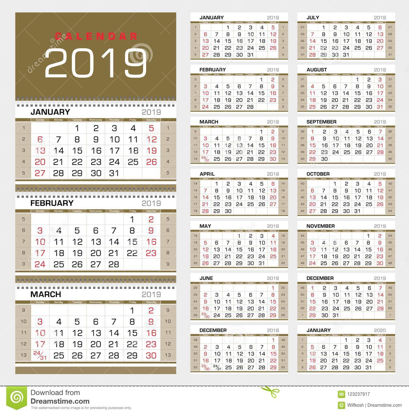Calendar 2019 With Week Numbers Wall Quarterly Calendar 2019 With Week Numbers. Week Start From