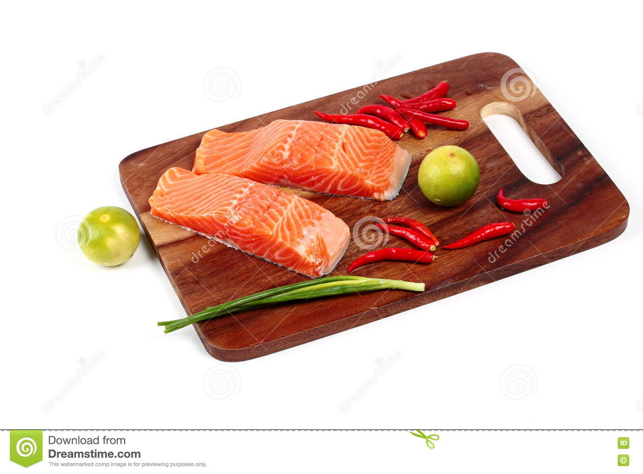 Ready Raw Fresh Salmon And Spicy Sour Herb For Cooking Stock Image