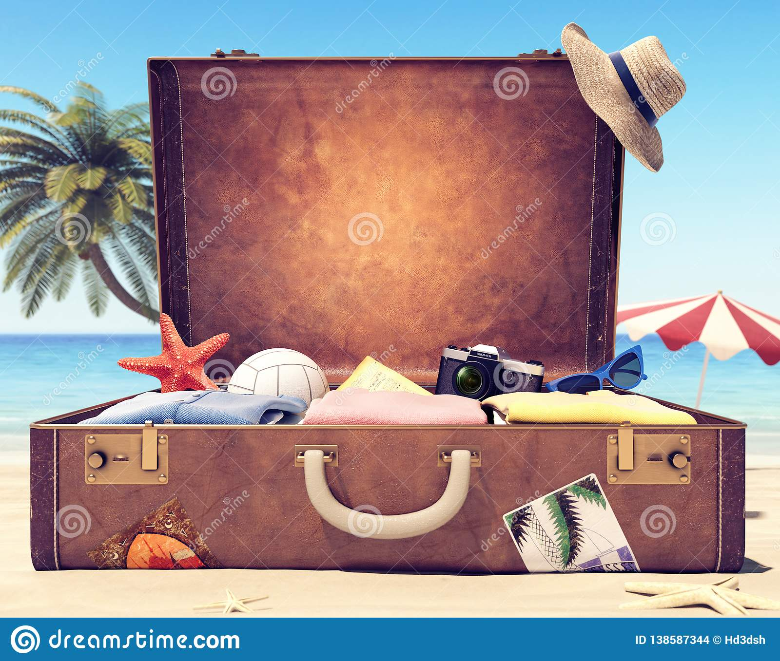Ready for summer holidays - Suitcase with accessories and backdrop space