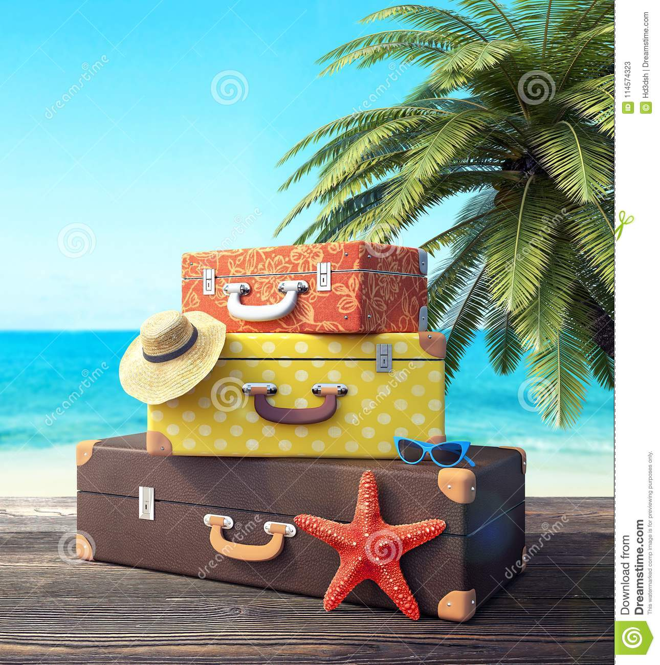 Ready for summer vacation, travel background