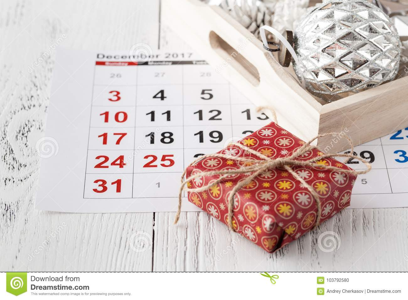 download ready to coming christmas calendar with marked date of christmas day stock photo - Whens Christmas Day