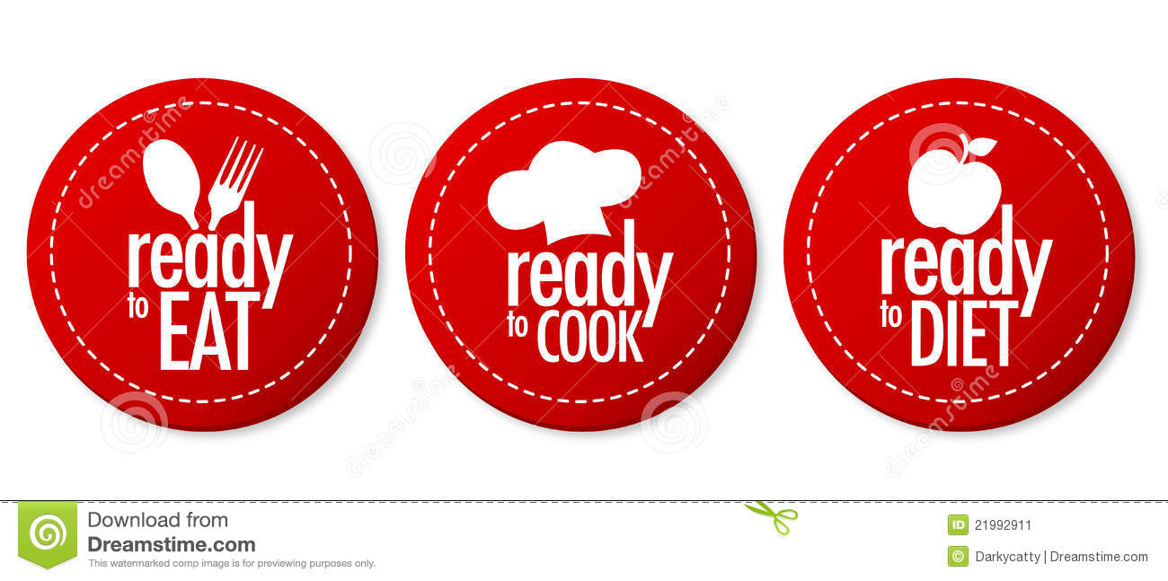 Ready To Eat, Diet And Cook Stickers Stock Image - Image ...