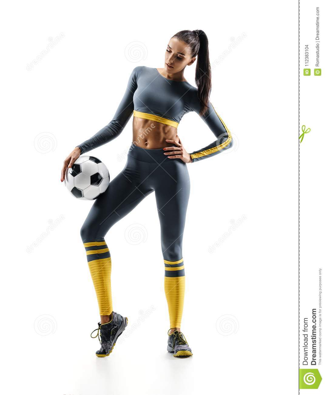 Football player woman standing in silhouette isolated on white background