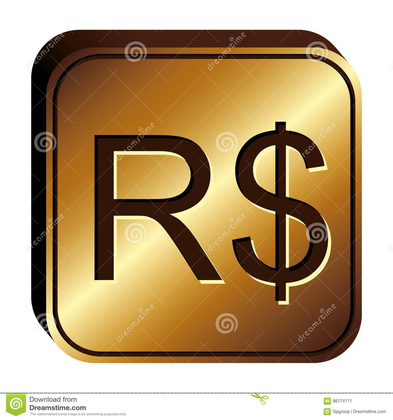 Real Brazil Currency Symbol Icon Stock Illustration Illustration