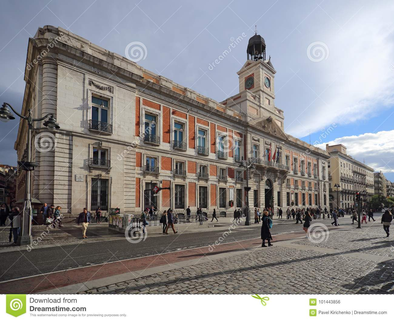 Real Casa de Correos Royal Post office at Puerta del Sol, Madrid, Spain. This building is at the m