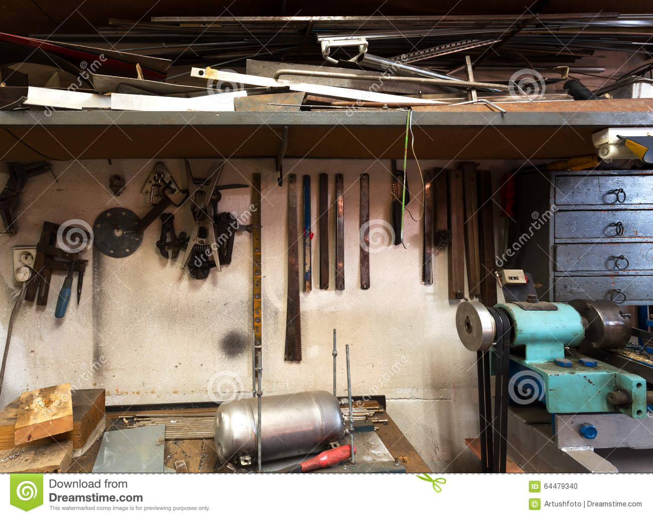 Real Domestic Home DIY Workshop Stock Photo - Image of metal