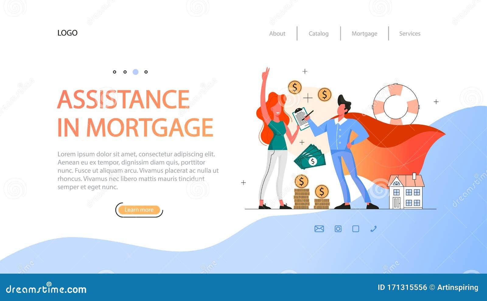 Real Estate Advantage Web Banner Idea Assistance In Mortgage Stock Vector Illustration Of Management Assistance 171315556