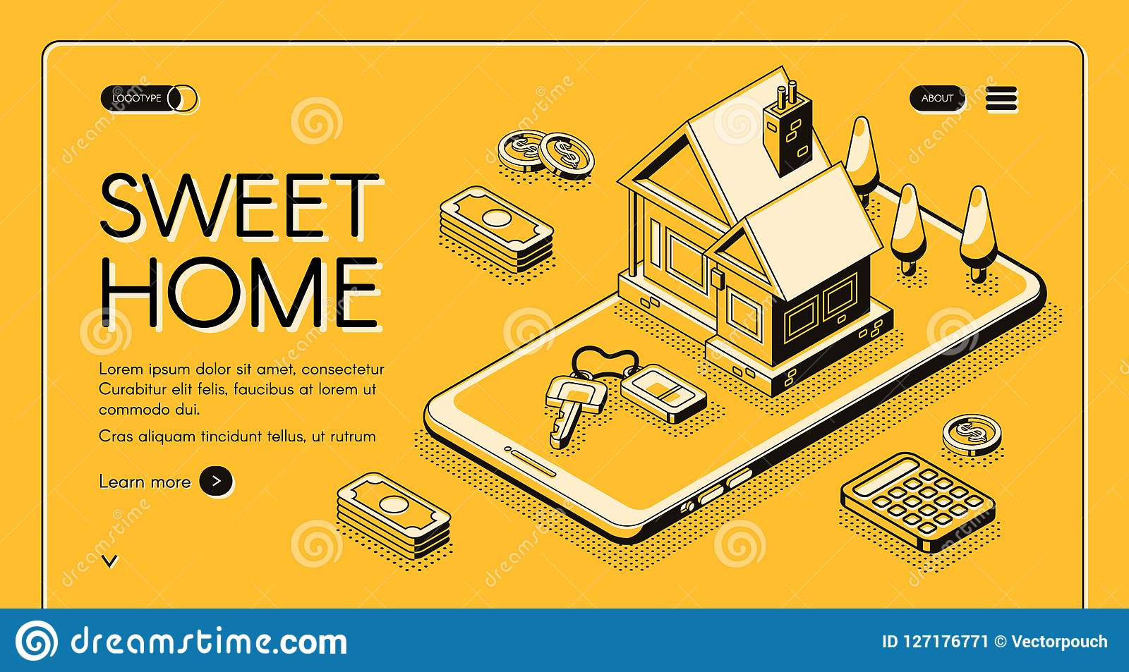 Real estate home online buy vector halftone line