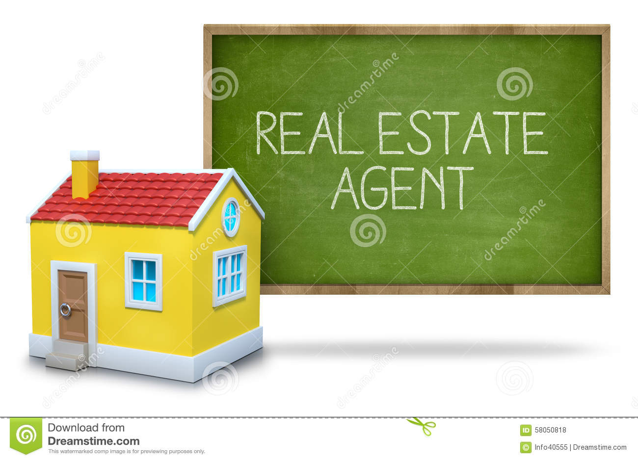 Real Estate Agent On Blackboard Stock Illustration ...