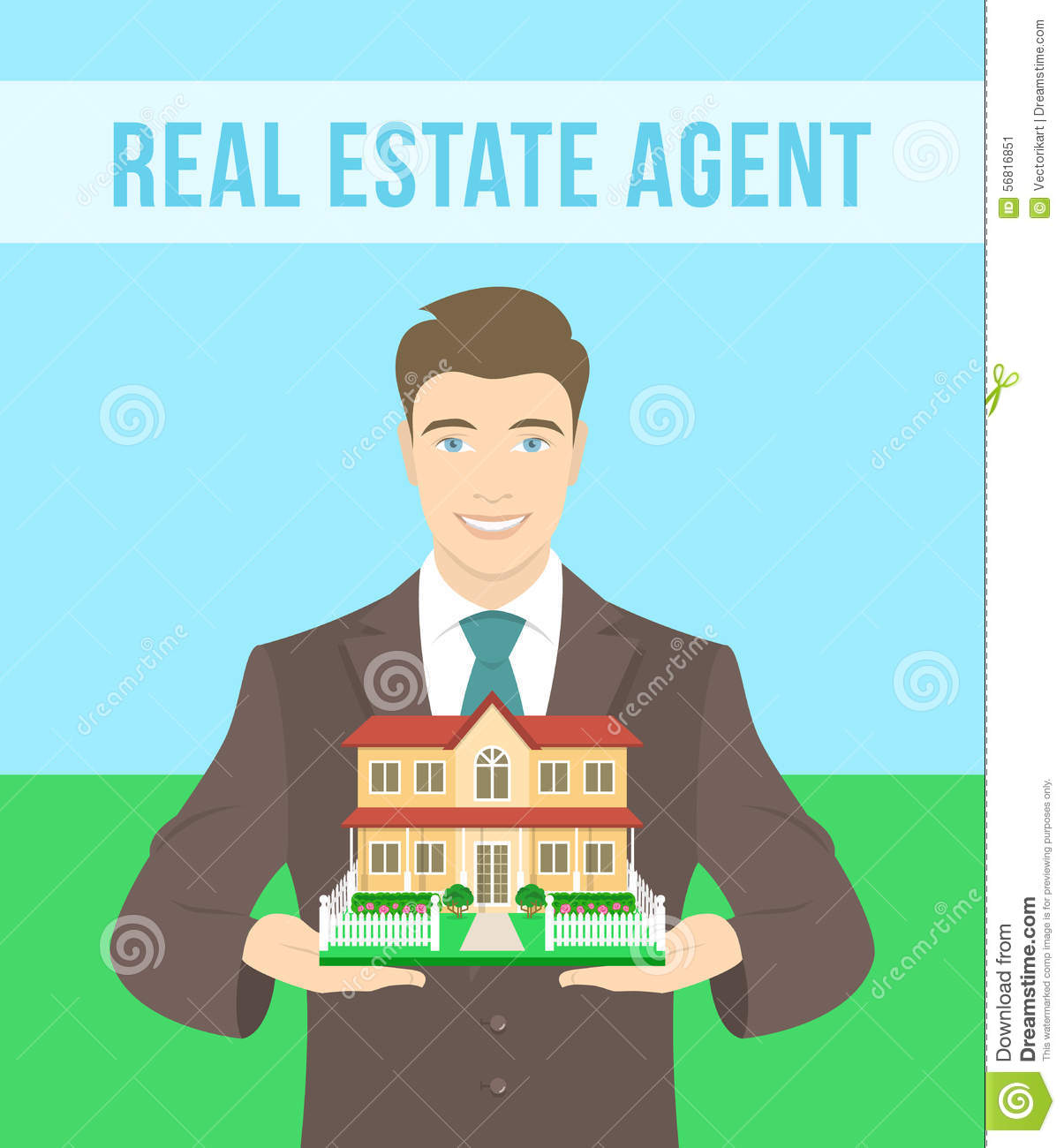 Real Estate Agent Offers A House Stock Vector - Image ...