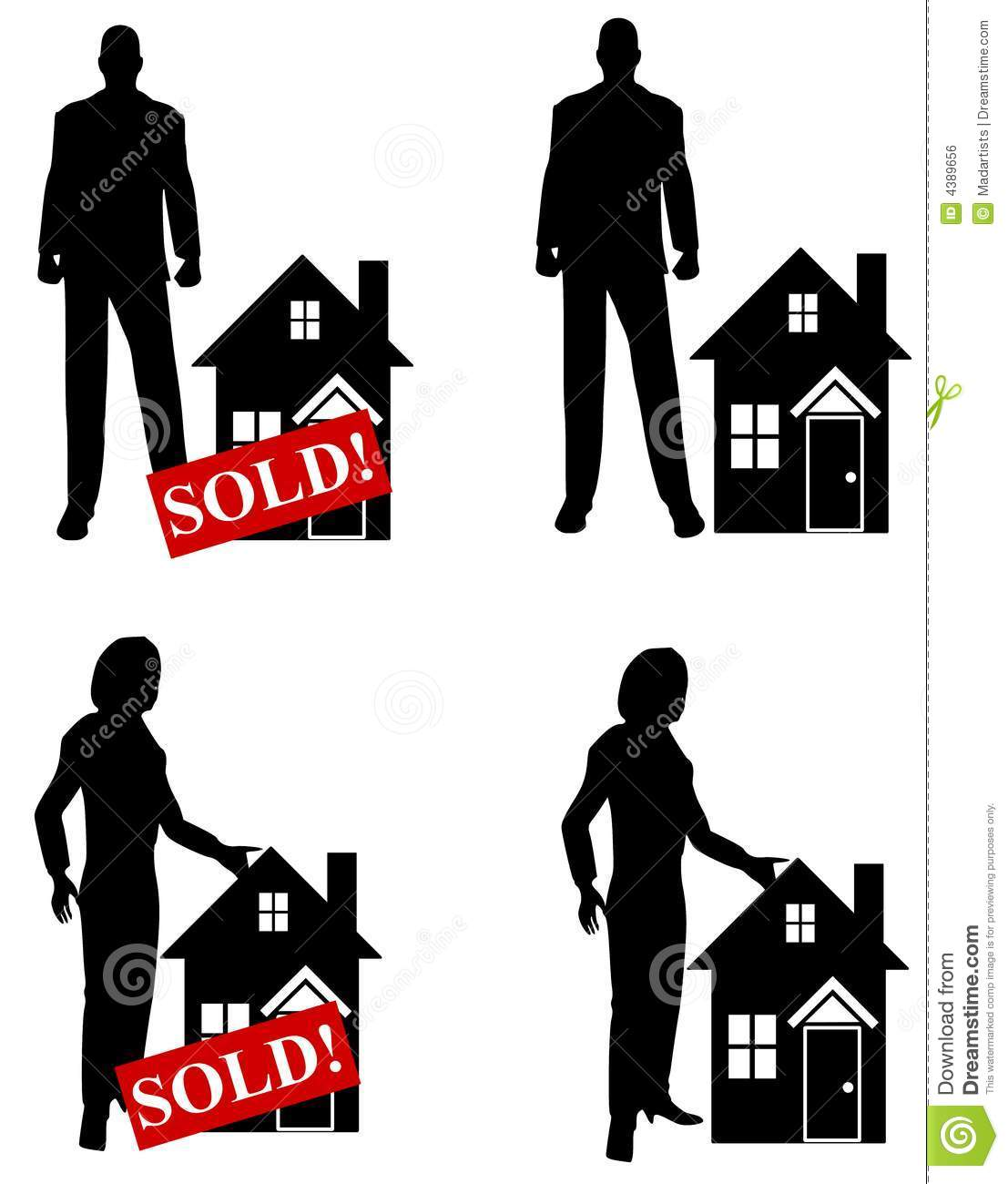 Real Estate Agents With Houses Stock Illustration Illustration Of House Image 4389656