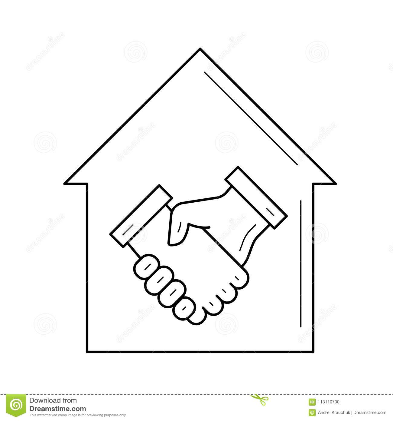 Real Estate Agreement Line Icon  Stock Vector - Illustration of