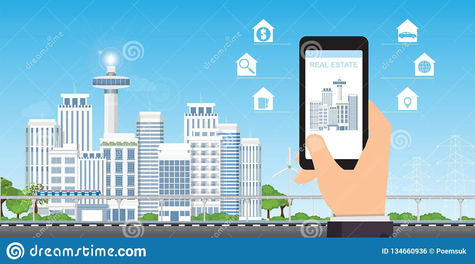 Real estate app concept on a mobile phone screen