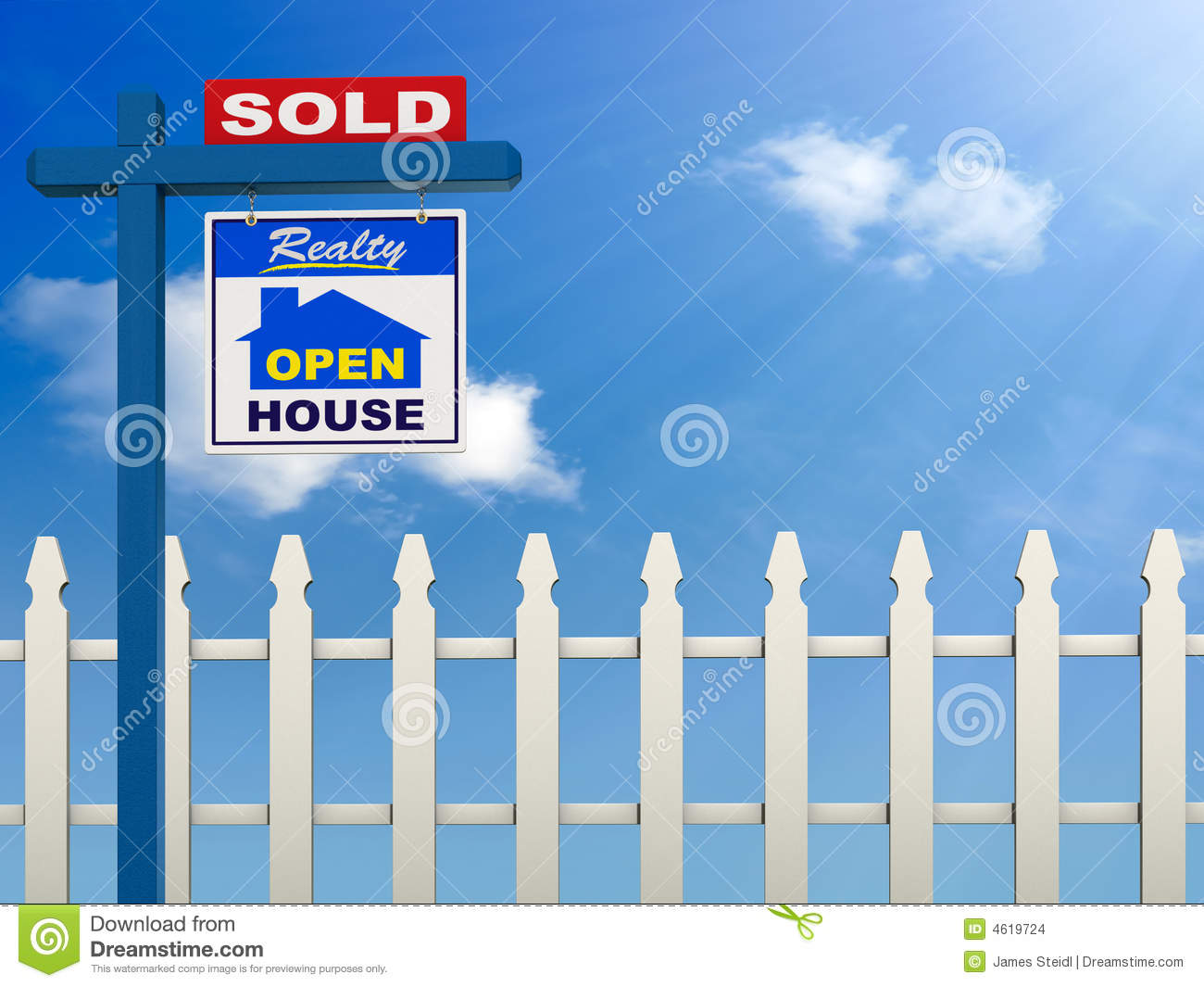 realestate sign showing the house as sold on a Blue Sky and white ...