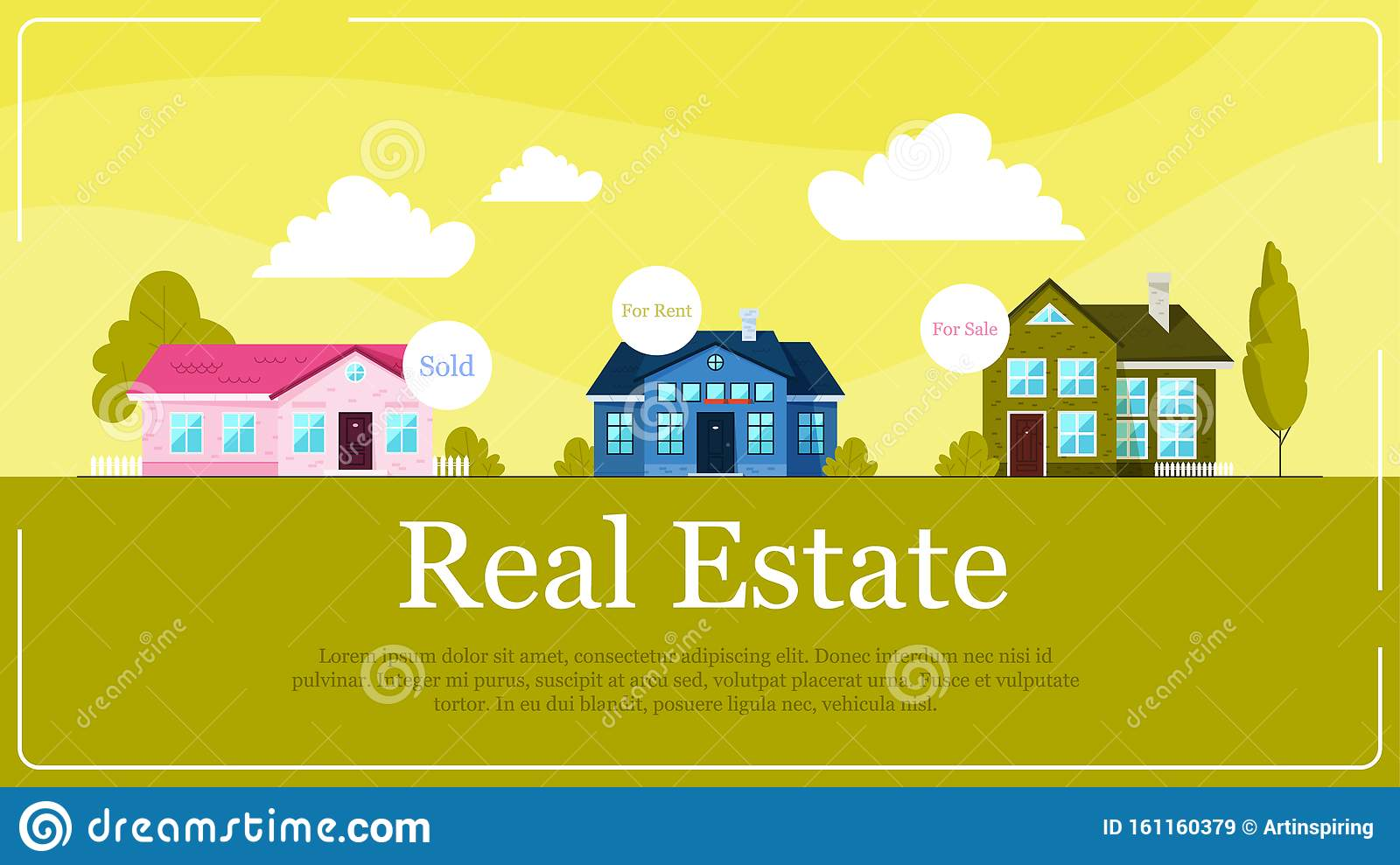 Real Estate Banner Concept Idea Of House For Sale And Rent Stock Vector Illustration Of Model Architect 161160379
