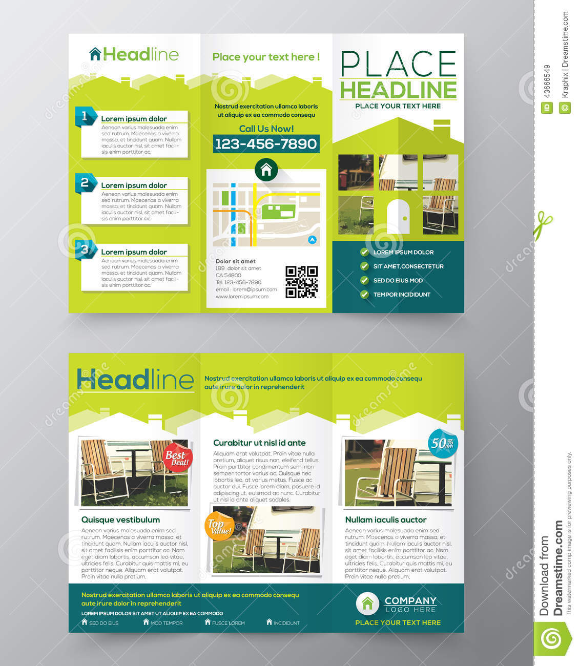 a4 tri fold brochure template - real estate brochure flyer design vector template in a4