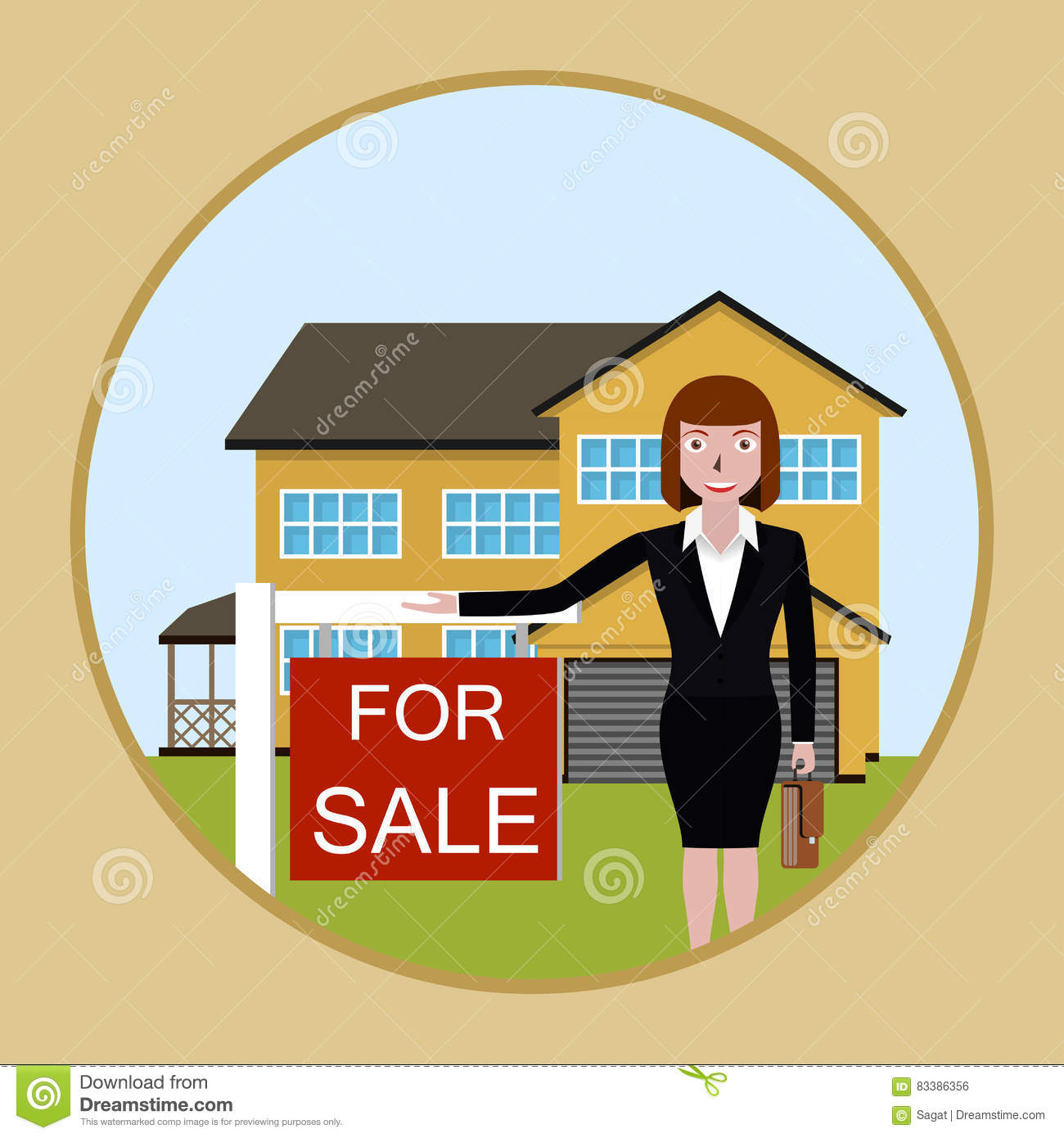 Real estate broker cottage for sale vector illustration for Real art for sale