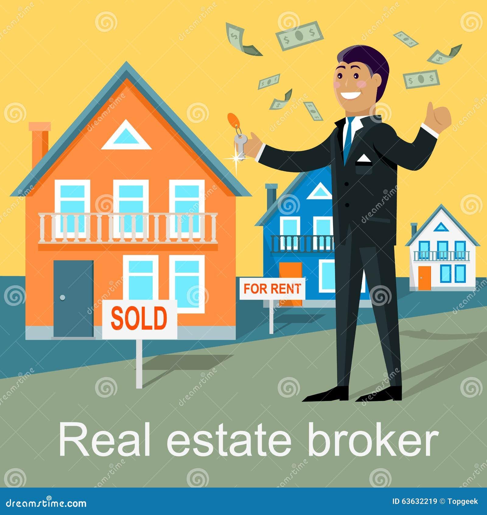 Real Estate: Real Estate Broker Design Flat Stock Vector